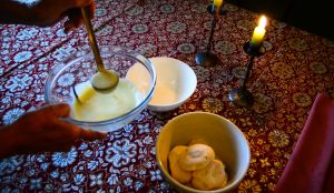 Elements of Ile Flottant: vanilla cream sauce and meringues