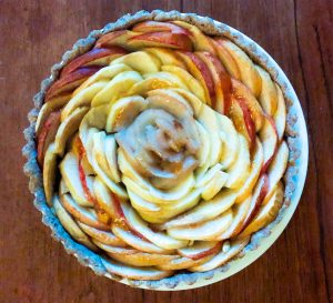 rose patterned apple pear tart