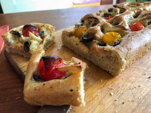 Focaccia - mozzarella, mushroom, tomato, garlic
