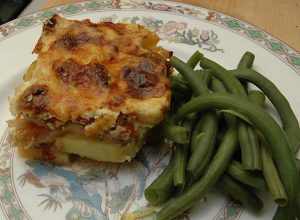 moussaka and beans