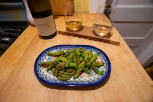 shishito peppers grilled and served with crisp white wine